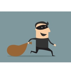 Cartoon thief in mask with sack vector image vector image