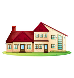 house with red roof with green lawn vector image vector image