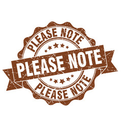 please note stamp sign seal vector image vector image
