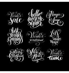 set of winter black and white handwritten vector image vector image
