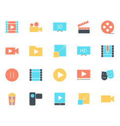video silhouette icons set pictograms vector image