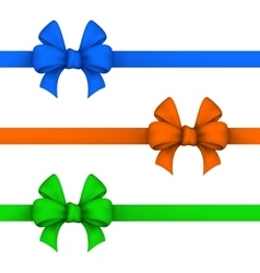 Blue orange and green gift bows vector image vector image