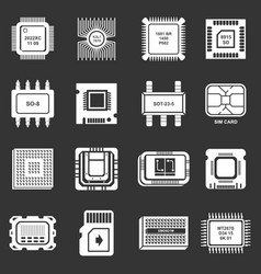 computer chips icons set grey vector image