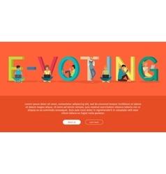E-voting concept web banner in flat design vector