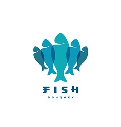 Fish logo Several vertical shapes with overlay vector image vector image