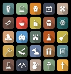 Halloween flat icons with long shadow vector image vector image