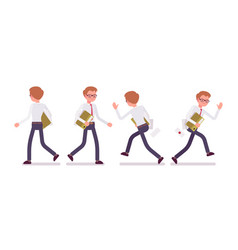 set of male clerk in walking and running poses vector image vector image