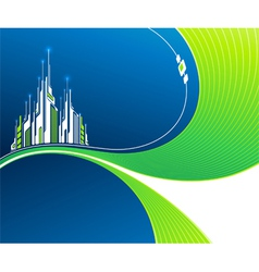 Wavy background with futuristic architecture vector image