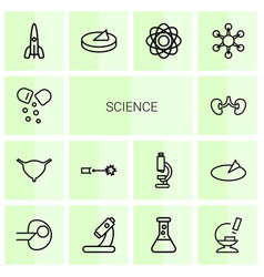 14 science icons vector image