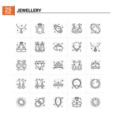 25 jewellery icon set background vector