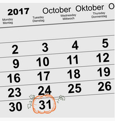 31 october 2017 halloween calendar date reminder vector image