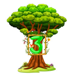a tree with a number three figure vector image