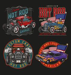 American custom cars colorful vintage labels vector