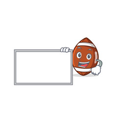 American football character cartoon with board vector