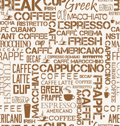 Background seamless tile of coffee words and vector