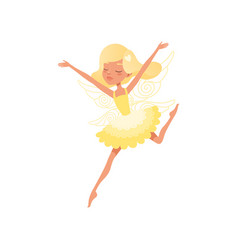 Beautiful blond fairy in action with hands up vector