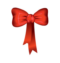 Beautiful realistic red bow silk style of vector