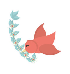 Bird flying with flowers decoration vector