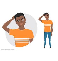 black african american man is pensive vector image