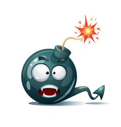 Cartoon bomb fuse wick spark icon devil smiley vector