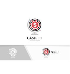 Casino and globe logo combination chip vector