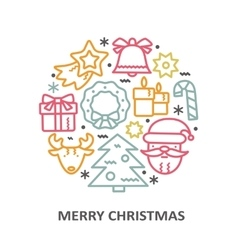 Christmas greeting card with line icons elements vector image