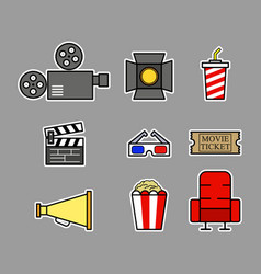 cinema graphic on bold outline vector image