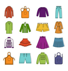clothes icon set color outline style vector image