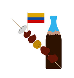 Combo a colombian brochette with a soda vector