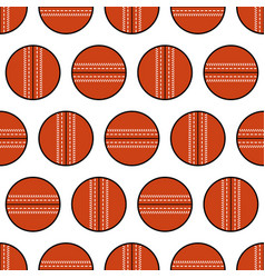 Cricket ball seamless pattern sports equipment vector