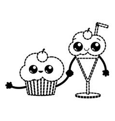 Cupcake and milkshake design vector