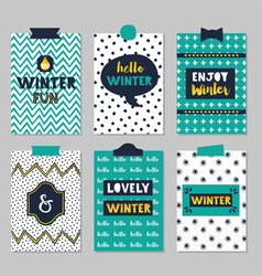 Cute assorted winter quotes journal cards set on vector