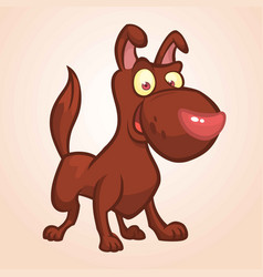 cute happy brown dog cartoon vector image