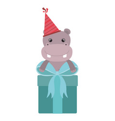 Cute hippo with gift box vector