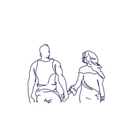 doodle couple walk holding hands back rear view vector image