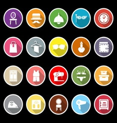 Dressing room icons with long shadow vector