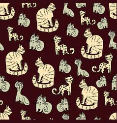 Feline seamless pattern fancy cats on a dark backg vector
