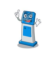Finger digital information cartoon kiosk next to vector
