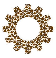 Gear wheel composition of crap icons vector