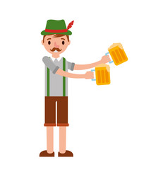 German man with typical costume and beers vector