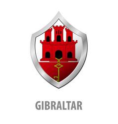 Gibraltar flag on metal shiny shield vector