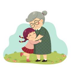 Girl hugging her grandmother vector