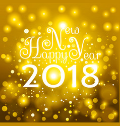 gold happy new year 2018 card vector image