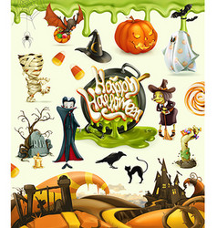 Halloween 3d Pumpkin ghost spider witch vampire vector
