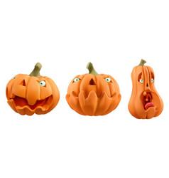 halloween carved pumpkin cartoon characters jack vector image