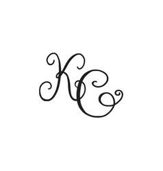 Handwritten monogram kc icon vector