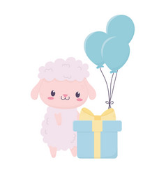 happy birthday cute sheep with gift and balloons vector image