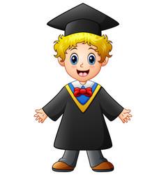 Happy graduation boy cartoon vector