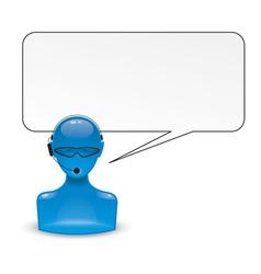 head blue vector image
