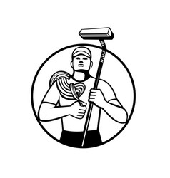 High rise window cleaner with rope and squeegee vector